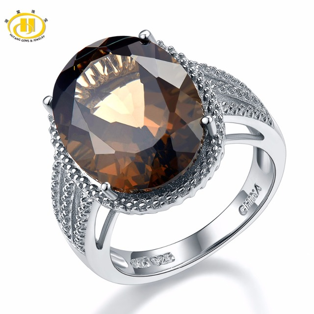 HUTANG Natural 8.3ct Stone Wedding Rings Oval Smoky Quartz Solid 925 Sterling Si