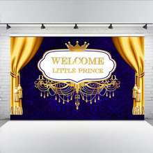 Welcome Little Prince Photo Background Newborn Baby Shower Backdrop Royal Golden Crown Blue Damask Backgrounds for Shoot
