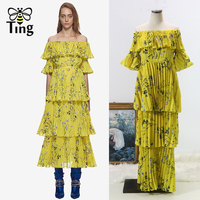 Tingfly Self Portrait Summer Boho Beach Pleated Long Dress 2018 Runway Women Yellow Printed Ruffles Off Shoulder Party Dresses