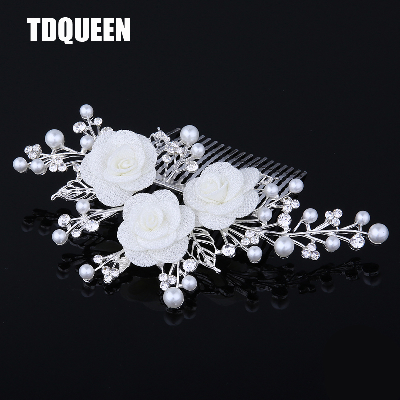 TDQUEEN Tiaras And Crowns New Arrival Wholesale Price Hair Pin Jewelry  Fashion White Flower wedding hair 4a5f68f1cc45
