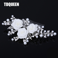 TDQUEEN Tiaras And Crowns New Arrival Wholesale Price Hair Pin Jewelry Fashion White Flower wedding hair comb bridal Accessories