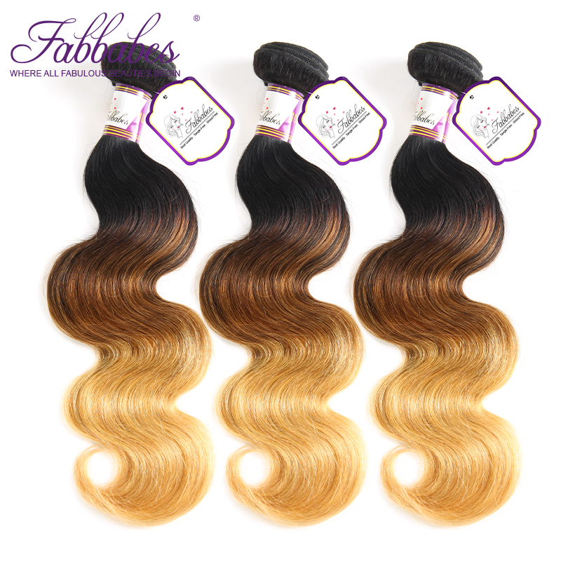 Fabbabes Ombre Hair Bundles Brazilian Body Wave 3 Bundles 100% Human Hair Weaves Remy Hair Extension 16-26inch Free Shipping