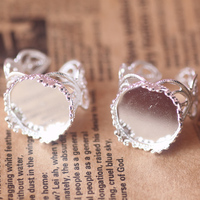 100pcs Lot 15mm Crown Lace Ring Blank With Cameo Tray Silver Plated Ring Bases Setting Handmade