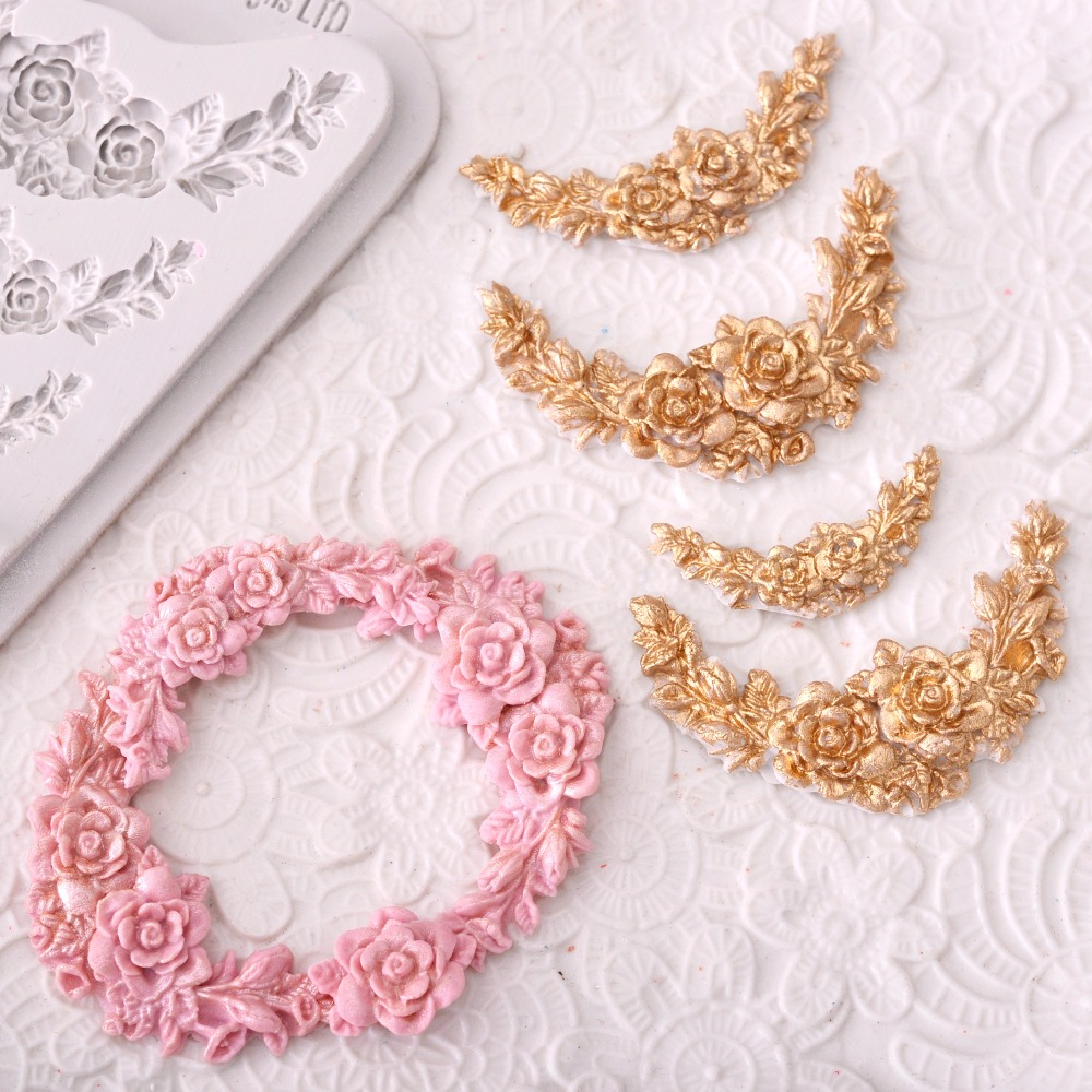 Rose Flower Garland Silicone Mold Border Jewelry Wedding Fondant Cake Tools Stencil Cupcake Mold Decoration Mold Confeitaria