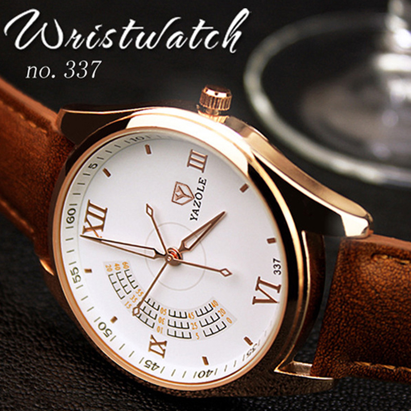 Montre Homme New Yazole Watch Men Business Leather Quartz Watch Fashion Mens Watches Top Brand Luxury Male Clock Erkek Kol Saati