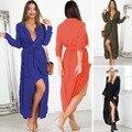 2016 осень женщины сплит сексуальное туника шифоновое платье новый бренд твердые длинным рукавом свободного покроя коктеила ну вечеринку платье L970
