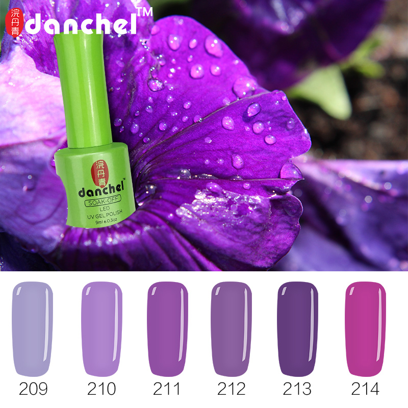Danchel 1pc 9ml Romantic Purple Series UV Gel Polish Nail Gel Polish Soak Off Gel Barniz Laca Nail Art de larga duración 12 Color