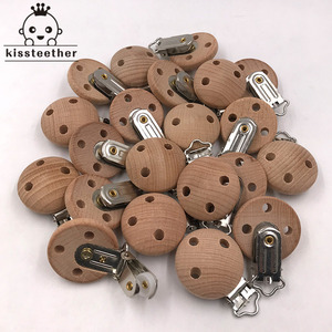Image 1 - 20pcs Wooden Pacifier Clip Nursing Accessories Beech Pacifier Clips Chewable Teething Diy Dummy Clip Chains Baby Teether