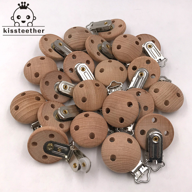 20pcs Wooden Pacifier Clip Nursing Accessories Beech Pacifier Clips Chewable Teething Diy Dummy Clip Chains Baby Teether