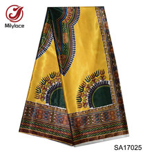 High quality digital printed wax design african satin fabric African pattern silk for party dress SA17025