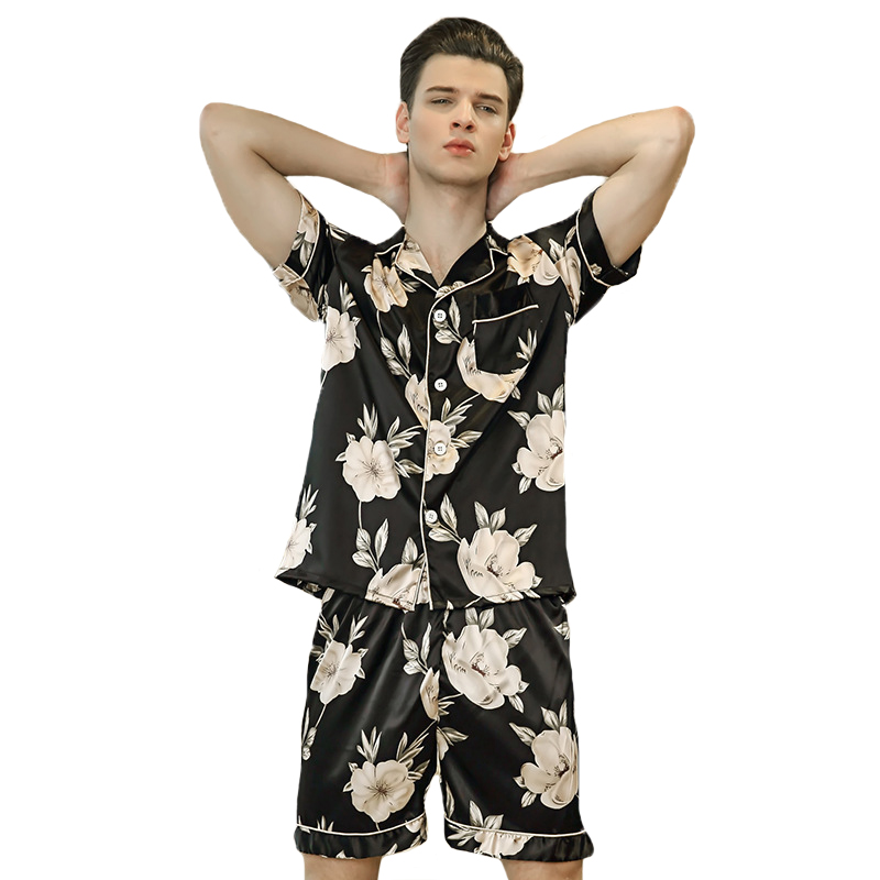 Summer Male Pajamas Suit Short Sleeve Sleep Set Novelty Print 2PCS Sleepwear New Men Pajamas Set Flower Nightwear Shirt&Shorts