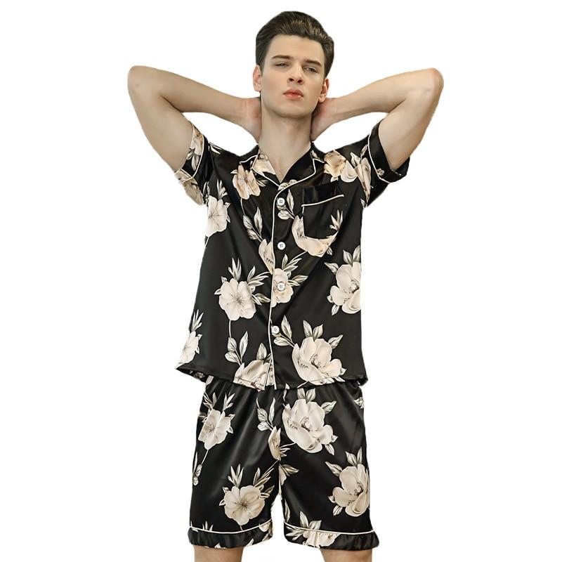 Summer Male Pajamas Suit Short Sleeve Sleep Set Novelty Print 2PCS Sleepwear New Men Pajamas Set Flower Nightwear Shirt&Shorts