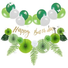 Fresh Green Jungle Birthday Party Decoration Set Summer Flamingo Tropical Leaves Birthday Balloon Green Fans 1st Birthday Decor