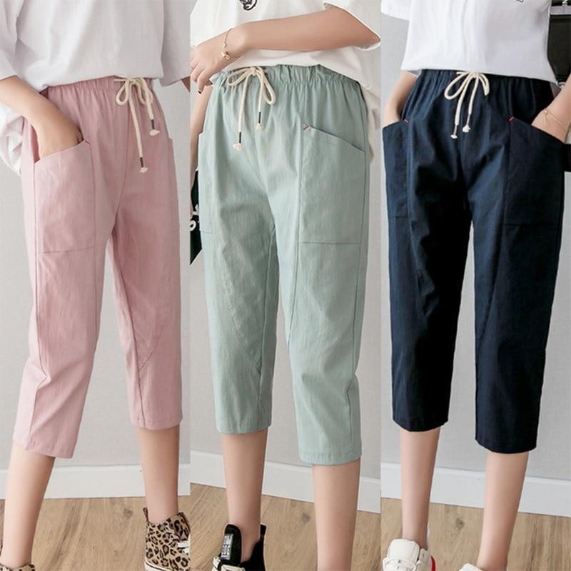 Cotton Linen Harem Women's Pants Elastic Waist Lace Up Solid Calf Length Trousers Plus Size 2019 Summer Autumn Loose Bottoms