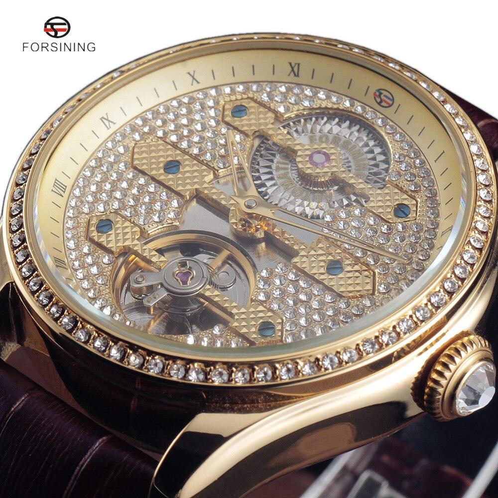 2017 FORSINING Новый Алмаз Дизайн ободок Золотой Для мужчин S Часы Топ Роскошные Montre Homme Часы Для мужчин Автоматический Tourbillon Skeleton часы