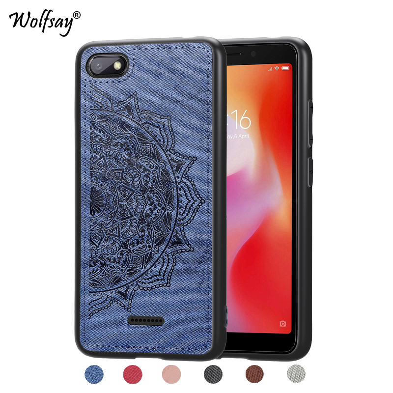 Xiaomi Redmi 6A Shockproof Soft TPU Silicone Cloth Texture Hard PC Phone Case For Cover Fundas