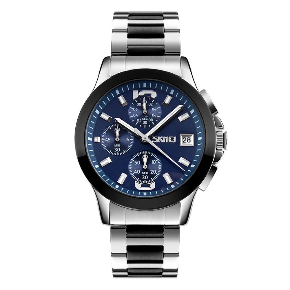 Stainless Steel Men Business Quartz Stopwatch Date Waterproof Wrist Watch Gift