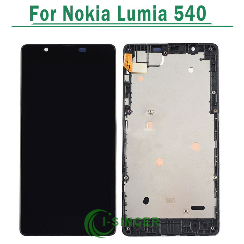 1/PCS For Nokia Lumia 540 LCD Display Screen with touch Screen Digitizer Assembly with frame Black color Free Shipping