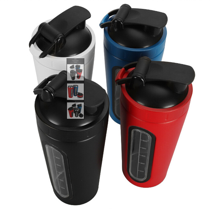 New Protein Powder Shakes Bottle Leakproof Lid Stainless Steel Shaker Water Bottle Auto Stirring Coffee Glass