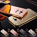 Lujo chapado marco de aluminio + acrylic mirror phone case para samsung galaxy j120 j1 mini J3 J5 J7 2016 A3 A5 A7 S7 S6 Edge Cubierta