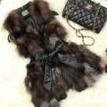 Hot New High-Quality Fur Vest Fox Fur Long Section Slim Vest Red Blue Brown