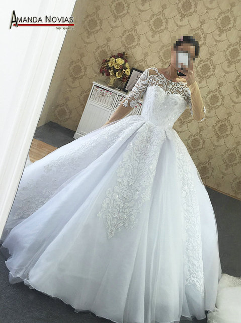 Luxury Long Train Arabic Wedding Dress Beading Lace Wedding Dress ...