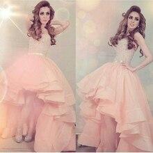 CYF11 Dubai Pink Hi-Lo Prom Dresses 2016 Kaftan Abendkleider Beaded Arabic Organza Evening Party Gown Vestidos de formatura