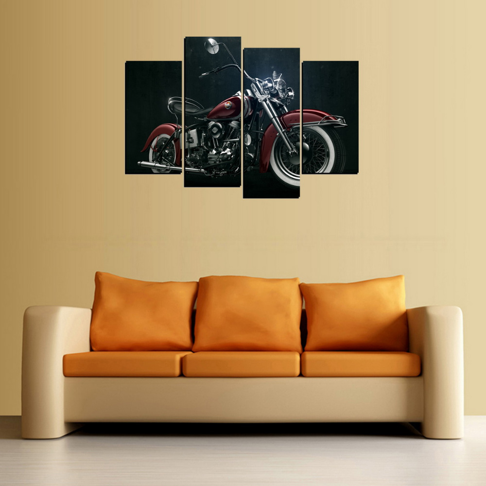 4 Panels Canvas Red Motor Painting On Canvas Wall Art Picture Home ...