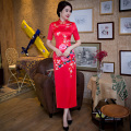 Shanghai Story high-grade Faux Silk Cheongsam long cheongsam qipao dress chinese traditional clothing Red Oritental Dress