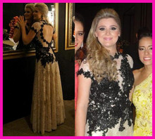 2014 High Quality Lace Black Open Back Vestido De Renda Longo Evening Prom Dresses Gowns E5677