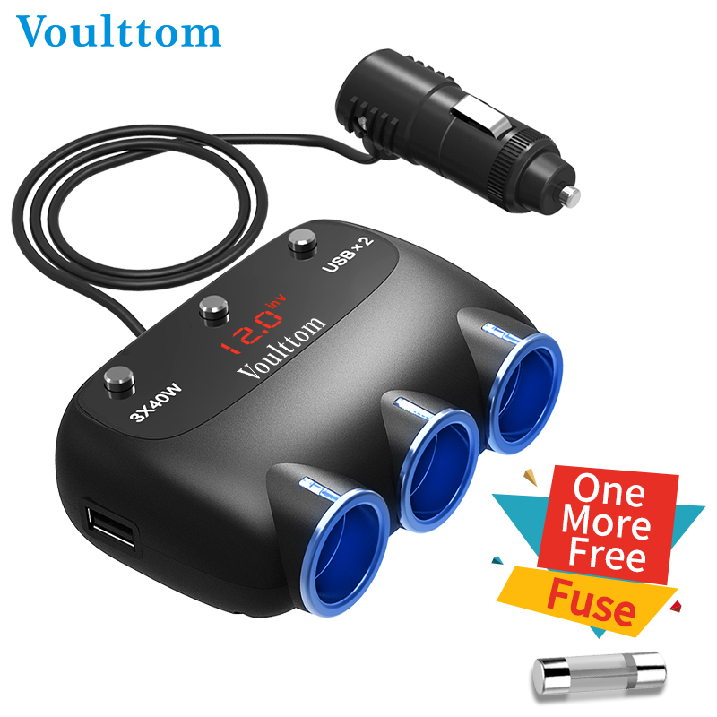 Voulttom electric plug for car travel adapter dual USB with socket 4x30 120W 12V DC outlet for GPS Cigarette Lighter Car Charger in Plug With Socket from Consumer Electronics