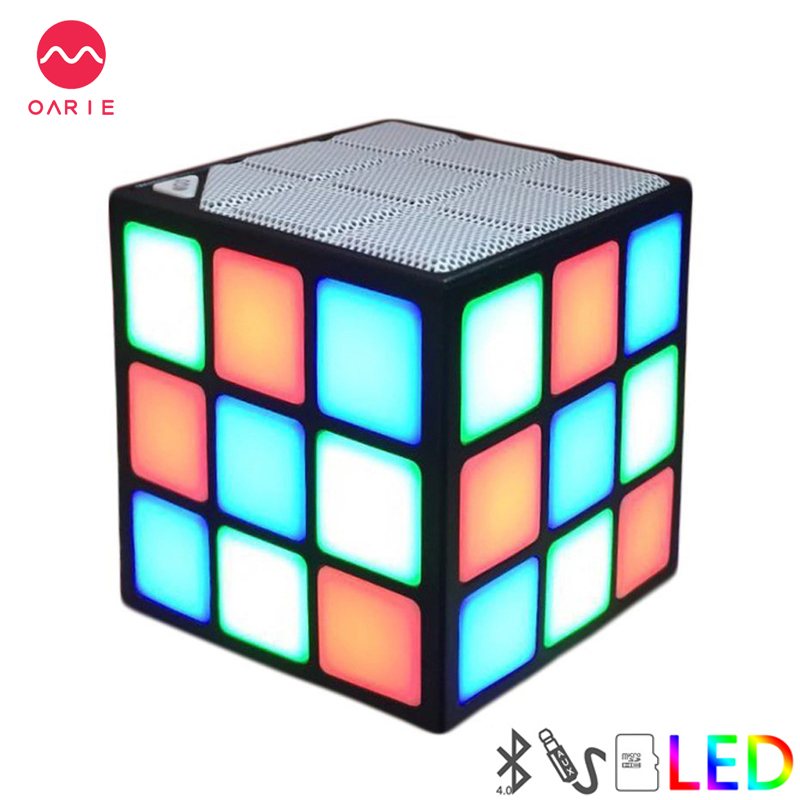 OARIE New Gift Mini Magic <font><b>Cube</b></font> Colorful Wireless Portable <font><b>Bluetooth</b></font> <font><b>Speaker</b></font> LED Flash Light with TF Card Handsfree Loudspeakers