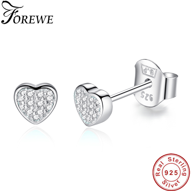 865c73212cb1 FOREWE 100% 925 Sterling Silver Earrings Jewelry Fashion Tiny CZ Pave  Crystal Heart Stud Earrings Gift For Women Girls Kids Lady