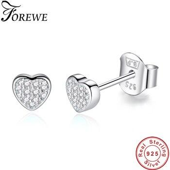811ef1776d08 FOREWE 100% pendientes de plata de ley 925 joyería de moda pequeño CZ Pave  Corazón de cristal Stud pendientes regalo para las mujeres niñas niños  señora