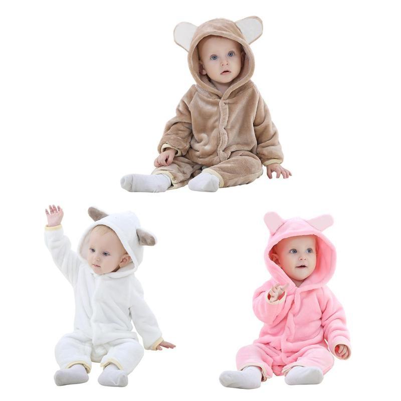 Neugeborenen Baby Robe Cute Bear Kleinkinder Overall Druckknopf Winter Mit Kapuze Kleidung Verdicken Kinder Flanell Pyjamas Einfarbig Kleidung