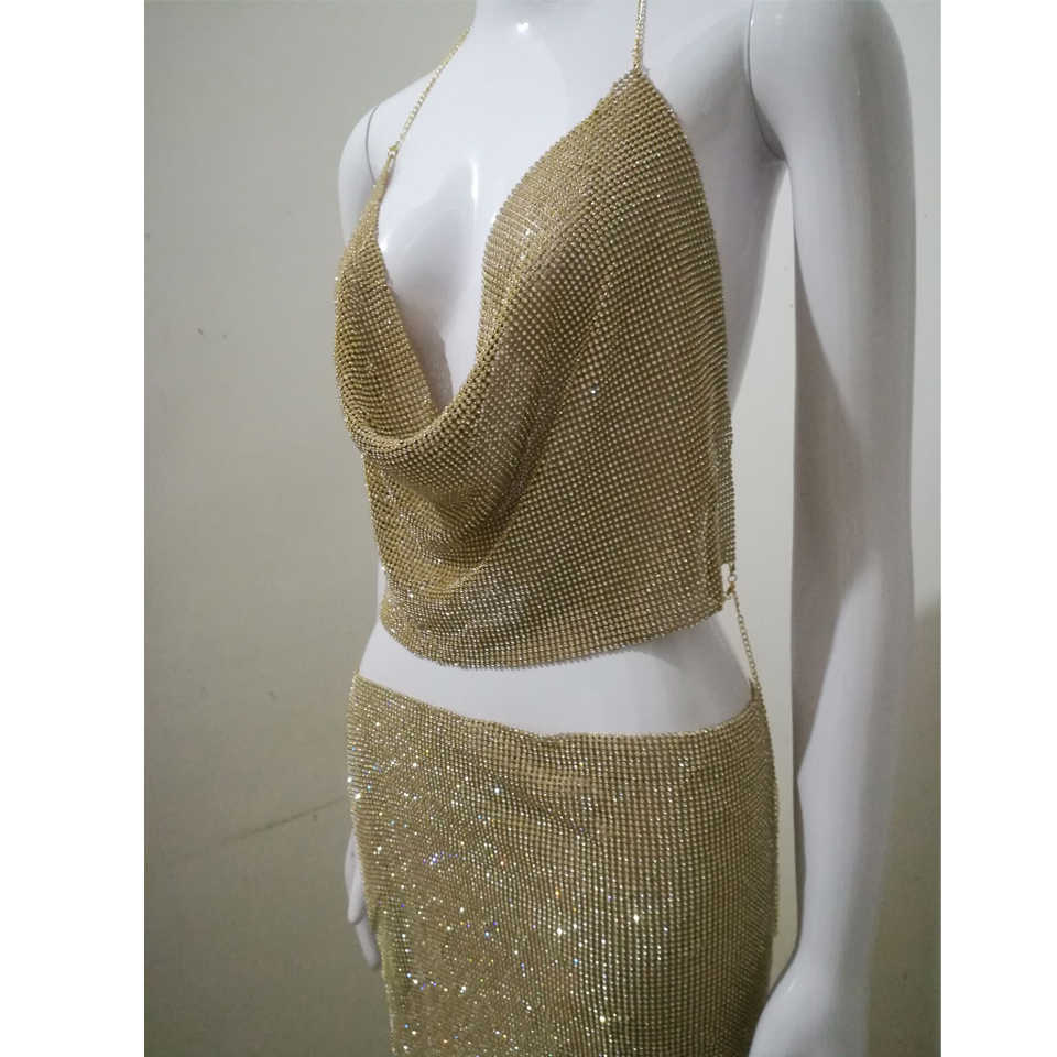 926d2eefdd27f ... Karlofea Sexy Luxury Rhinestone Dress Diamonds Gold Silver Two Piece Mini  Dress Cowl Neck Halter Clubnight ...