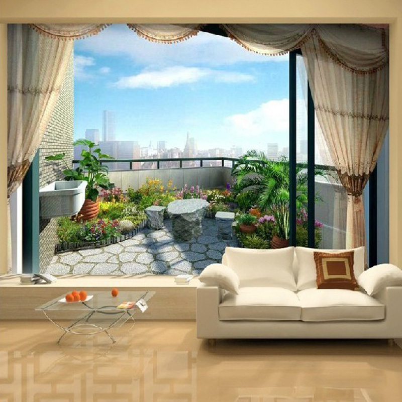 Custom Fashion Outside The Window Sea View 3D Mural Wallpaper Personality Space Expansion Living Room Home Decor Wall Painting