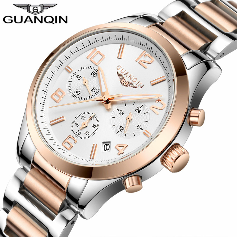 Luxury Brand Watches GUANQIN Men Watch Chronograph Luminous Date Waterproof Quartz Watch Men Clock Stainless Steel Wristwatches стоимость