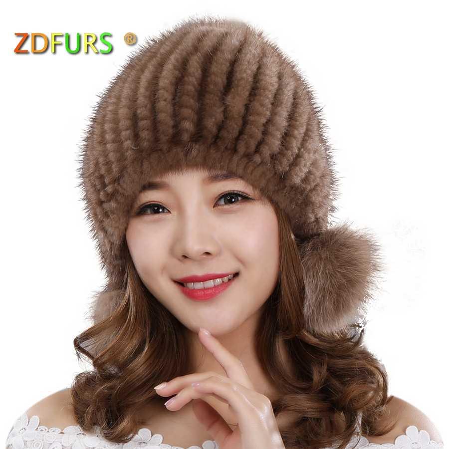 ZDFURS * Importado malha mink fur hat real fur Chapéus tampão do inverno quente grosso protetor de Orelha Raposa Três bolas de Vison pele Chapéus de tricô