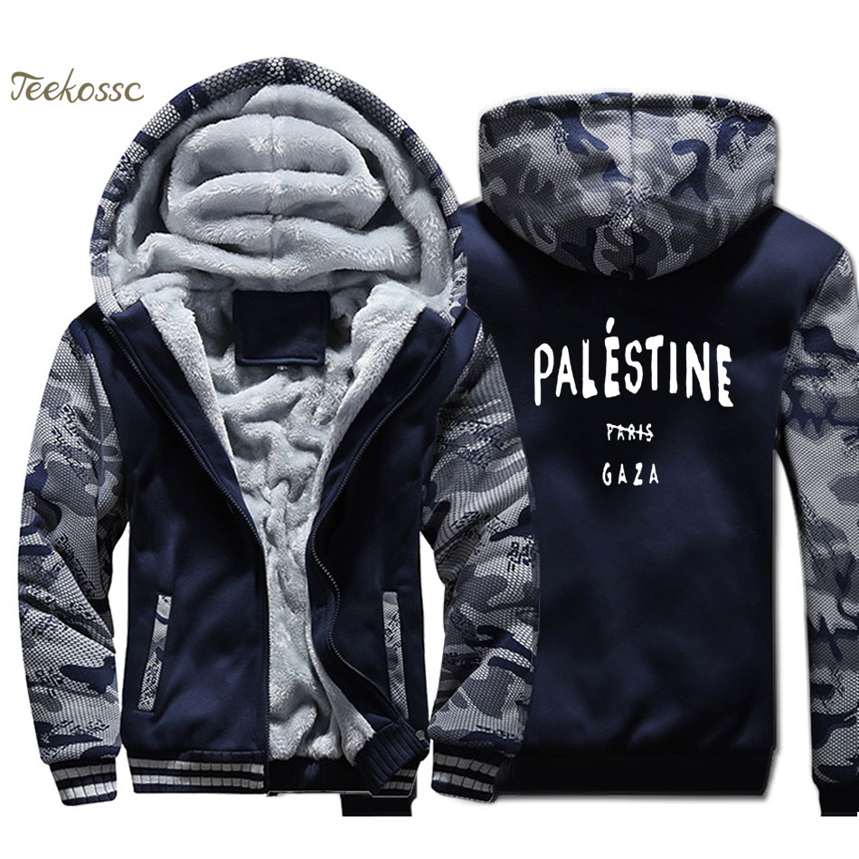 Gaza Palestine Paris 5sos Hoodie Men Funny Print Hooded Sweatshirt Casual Coat 2018 Winter Thick Fleece Warm Camouflage Jacket