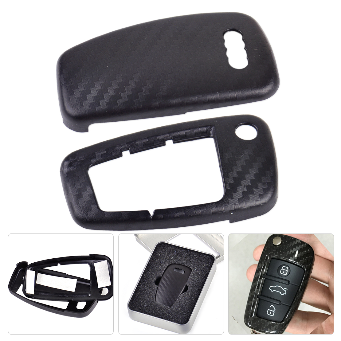 DWCX Car Carbon Fiber Texture 3 Buttons Remote Flip Key Cover Case Shell for Audi A1 A3 A4 2000 - 2011 2012 2013 2014 2015 2016 image