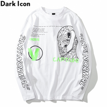Dark Icoon Captain Line Gezicht Lange Mouwen T shirt Mannen Ronde Hals Hip Hop T shirts Afdrukken Straat Tee Shirts Geel Wit