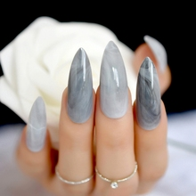 Extra long Stiletto Grey Marble Fake Nails