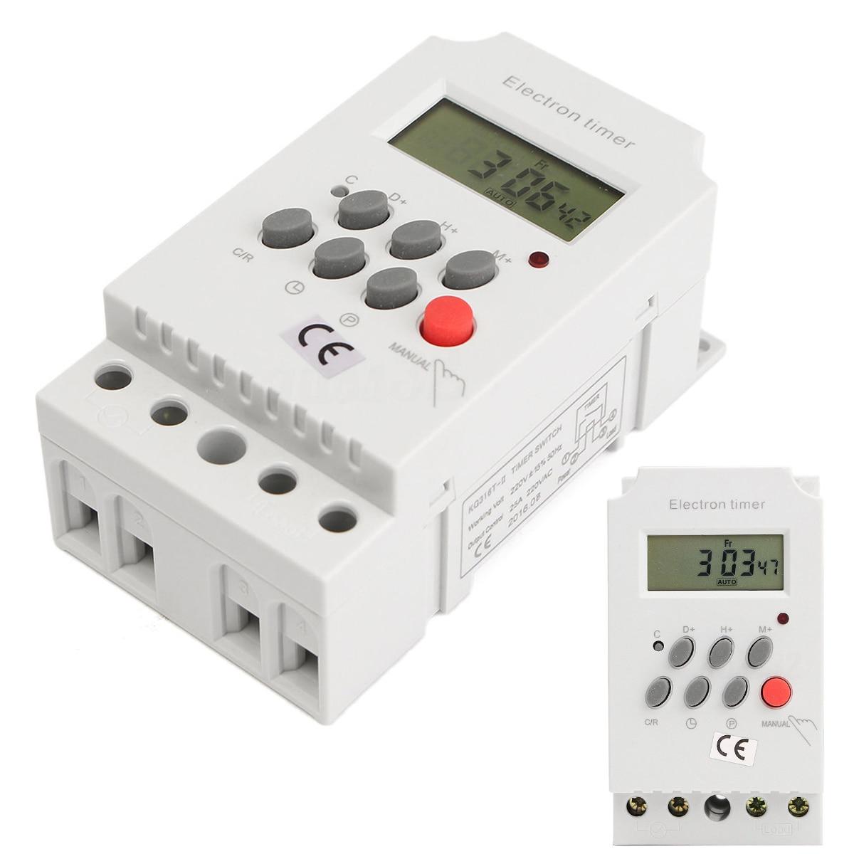 1 Stück Ac 220 V 25a Elektronische Zeitschaltuhr Din-schiene Digital Programmierbare Elektronische Zeitschaltuhr Kg316t-ii Ausreichende Versorgung