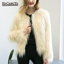 HCYO Women Faux Fur Coat Vintage Furry Fake Fur Coats Winter Outerwear Short Coat Women Casual Long Sleeve Party Overcoats 3XL