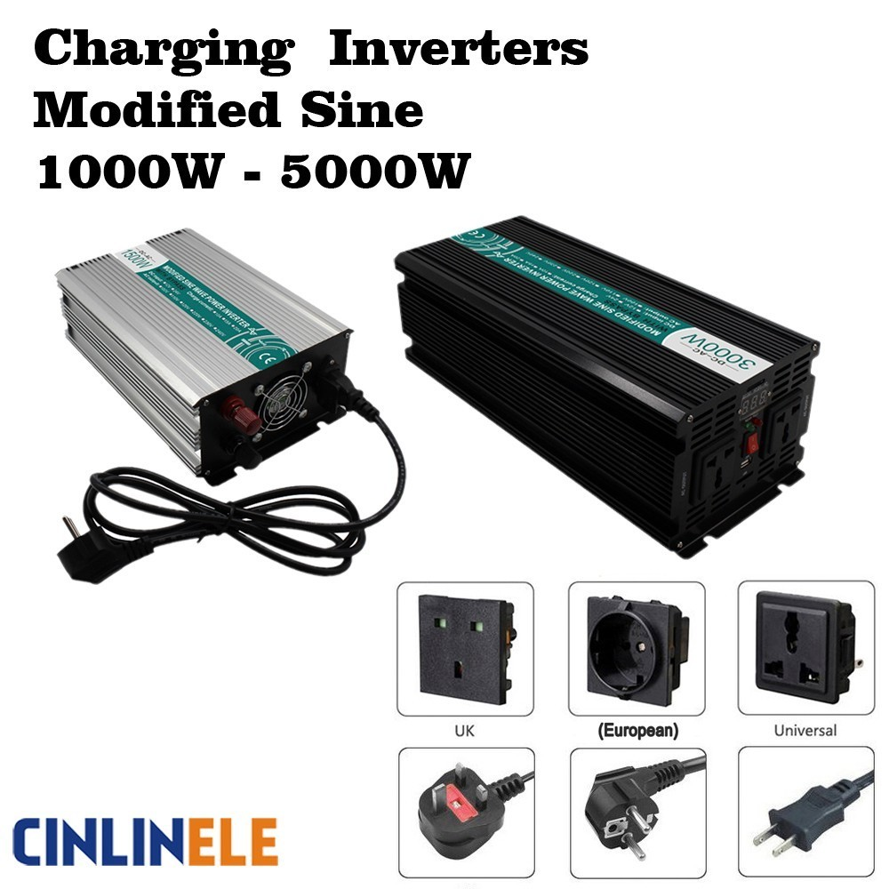 Smart Charger Modified Sine Wave Inverter 1000W - 5000W DC 12V 24V 48V to AC 110V 220V 1500W 2000W 3000W 4000W Solar Power Car whm1000 242 smart 1000w 24v dc to ac 220v 230v 50hz modified sine wave solar power inverter