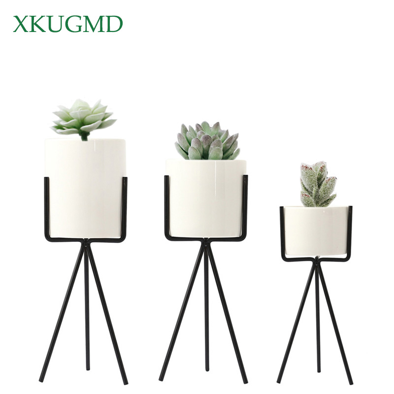 1 Pcs White Grey Flower Planters Clay Pottery Succulent Plant Pot With Chicken Feet Design Iron Shelf Fairy Garden Flowerpot