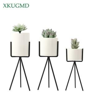1 Pcs White Grey Flower Planters Clay Pottery Succulent Plant Pot with Chicken Feet Design Iron Shelf Fairy Garden Flowerpot(China)