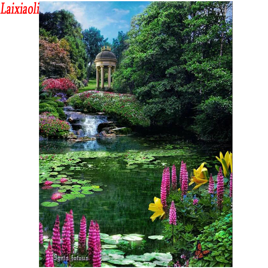 5D Diamond Painting garden lake Water lily Cross Stitch Diamond Embroidery Mosaic Painting Full Square round Drill Home Decor(China)