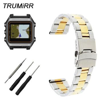 Bracelet de montre en acier inoxydable 22mm + outil pour Garmin Epix Forerunner 935 FR935 Bracelet à boucle de sécurité Bracelet en or noir argent